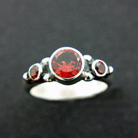 Red Garnet Engagement Ring Triple Garnet Ring Triple Natural Garnet Ring Sterling Silver Promise Ring January Birthstone