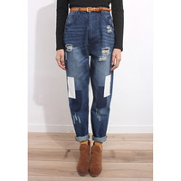 Distressed Patchwork Baggy Jeans