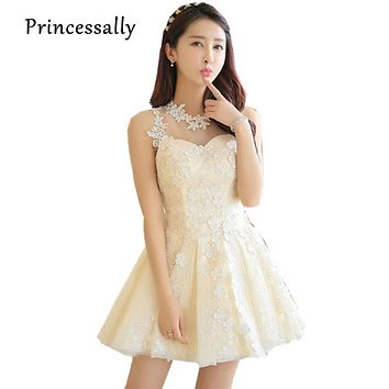 Vestidos De Noiva Casamento Cute Lace Coacktail Party Dress Appliques Flowers Champagne Short Wedding Prom Party Gowns For Guest