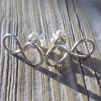 925 Sterling Silver Wire Infinity Stud Earrings