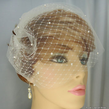 "Double Russian Style Birdcage Blusher 9"" Scattered Swarovski Pearls Bridal Veil"