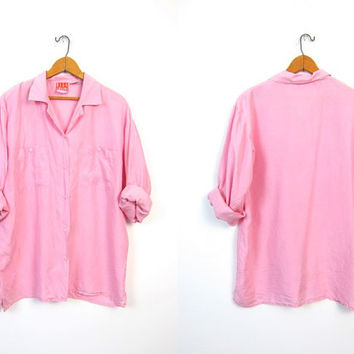 Light Pink Silk Blouse Bubble Gum Pink Slouchy Button Up 90s Pocket Blouse Long Sleeve Top Minimalist Basic Preppy Shirt Womens Large