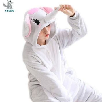 HKSNG Animal Grey Blue Elephant Kigurumi Pajamas Flannel Family Cartoon Halloween Party Onesuits Cosplay Costumes Jumpsuits