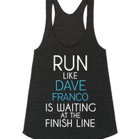 Run For Dave Franco-Female Athletic Tri Black Tank