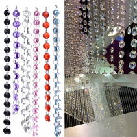 1M Acrylic Crystal Bead Curtain Octagon Beads Curtain DIY Garland Wedding Decoration Home Bedroom Living Room Decor