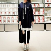 """Adidas"" Women Fashion Casual Middle Long Section Hooded Long Sleeve False Two-Piece Sweater Dress"