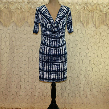Batik Dress Tie Dye Knit Dress Midi Blue and White Womens Dresses Short Sleeve Day Dress Small Medium Vintage Clothing Womens Clothing