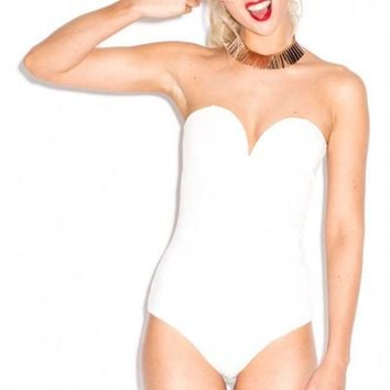 Oh My Love Take The Hint Bandeau Bodysuit with Plunge Neck
