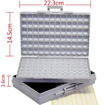 AideTek 2 Empty Enclosures Surface Mount Resistor Capacitor Organizer 0805 0603 0402 Lid plastic part box lables 2BOXALL