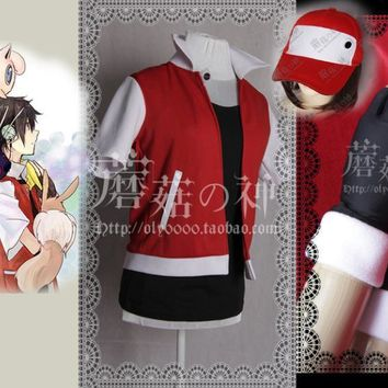 Trainer Red Cosplay Costume custom any size Aed cosplay costume set top+coat+gloves+hatKawaii Pokemon go  AT_89_9