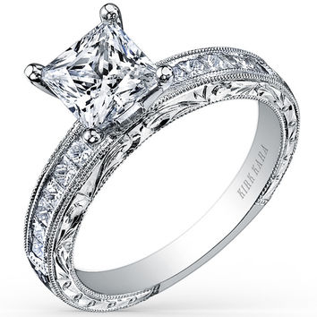 "Kirk Kara ""Charlotte"" Hand-Engraved Channel Set Princess Cut Diamond Engagement Ring Crafted with 0.45 Carats of Diamonds in 18K White Gold"