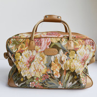 Vintage Floral Print Carry On Bag Adolfo Luggage Weekender Bag Floral Tapestry Duffle Bag
