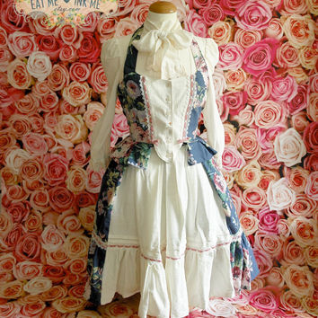 REDUCTED Rococo skirt and vest set in blue floral colorway with white jacquard, ivory lace and dusty pink velvet ribbon bows