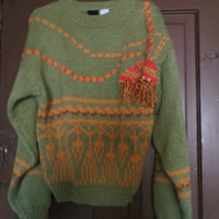 80S VINTAGE Oversized  green with atomic retro print fringe bulky sweater size small