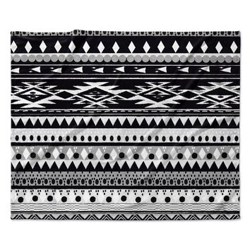 "Nika Martinez ""Black Hurit"" Gray White Fleece Throw Blanket"