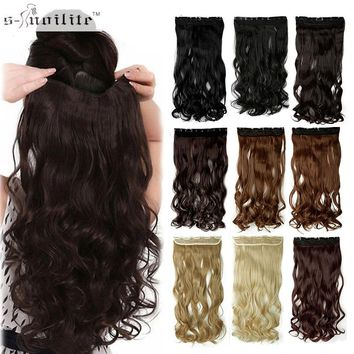 "SNOILITE 17/24/27/29"" Long Curly Synthetic Clip in Hair Extensions Half Full Head Hairpiece 5 clips One Piece Black Brown Blonde"