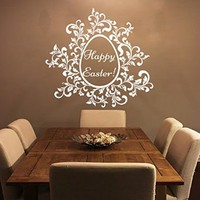 Easter Wall Decor Sunday Decal Vinyl Egg Sticker Twig Kitchen Home Decals Interior Design Cafe Restaurant Art Murals Ah111