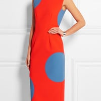 Red Dotted Sleeveless Midi Pencil Slit Bodycon Dress