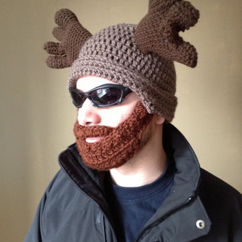 Handmade Crochet Moose Beard Hat in light brown beanie hat with Brown beard, Halloween for men, women, kids, or babies all sizes