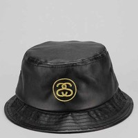 Stussy SS Link Faux-Leather Bucket Hat - Black L/xl