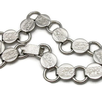 "1959 Sarah Coventry Silver Tone Chain Link Bracelet ""Young and Gay"" 1950s Signed Floral Leaf Design Foldover Clasp Minimalist Discs Circles"