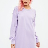 Missguided - Lilac Long Sleeve Sweater Dress