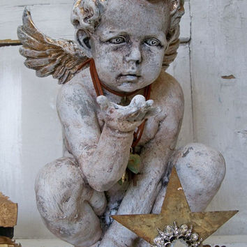 Large cherub statue with crown distressed hand painted art piece embellished home decor Anita Spero