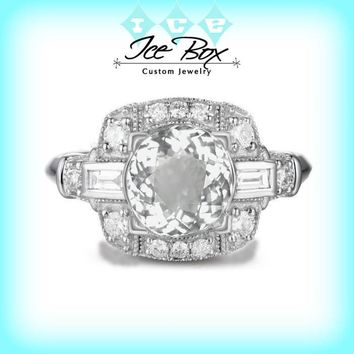 Engagement Ring White Sapphire 3.25ct Round set in a 14k White gold round and baguette diamond halo setting