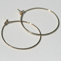 14k Gold Earrings, Solid Gold Hoops, Small Gold Hoop Earrings, Thin Hoops Earrings Handmade Gold Hoops, Lightweight by Maggie McMane Designs
