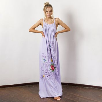 Flower Embroidered Maxi Dress Sexy Hollow Back Strap Dresses Casual Boho Long Beach Dress Women Clothing Vestidos