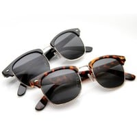 zeroUV - Premium Half Frame Horn Rimmed Sunglasses with Metal Rivets