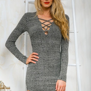 Deep V-Neck Cross Straps Slim package Hip Knit Dress