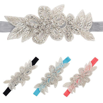 Rhinestone Leaves Glam Headband
