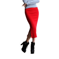 Office Look, Mid Waist Skirt, Casual Slim Hip