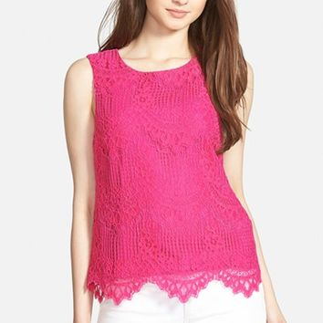 Women's CeCe by Cynthia Steffe Lace Overlay Sleeveless Blouse,