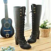 Women Stretch Slim Thigh Coarse High Boots Sexy Fashion Boots Lace Up High Heels Woman Shoes Coarse Heels Black