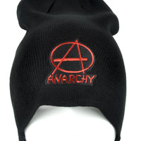 Red Anarchy Sign Beanie Punk Rock Clothing Knit Cap