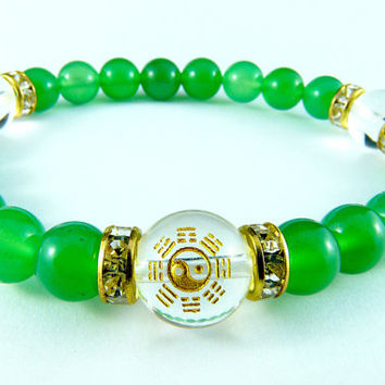 Green and Gold Ying Yang Bracelet Beaded Bracelet Bagua Feng Shui Design