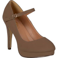 Women's Journee Collection Platform Mary Jane Pumps - Taupe, 9