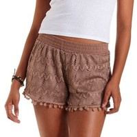 Taupe Pom-Pom Trim Lace Shorts by Charlotte Russe