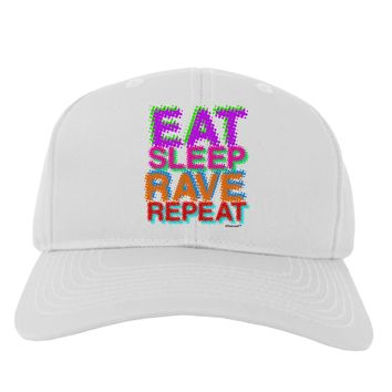 Eat Sleep Rave Repeat Color Adult Baseball Cap Hat by TooLoud