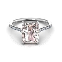 14K White Gold Emerald Cut Morganite Engagement Ring with Diamonds