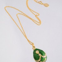 Green & Gold Egg Pendant Necklace