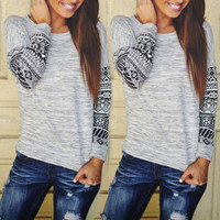SIMPLE - Fashionable Floral Women Slim Long Sleeve Round Necked T-shirt Top b4256