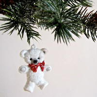 Adorable Teddy Bear Ceramic Christmas Tree Ornament
