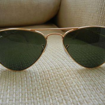 ONETOW Ray-Ban AVIATOR 3044 L0207 SMALL METAL Gold Frame/Green Lens 52mm