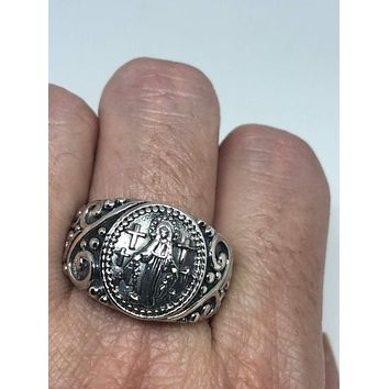 Vintage 925 Saint Mary Amulet Sterling Silver Antiqued Ring