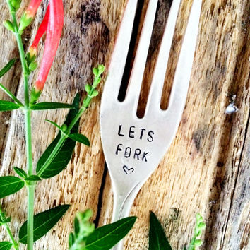 Let's Fork, Hand Stamped Fork, Dirty Gifts, Naughty Gifts, Inappropriate Gifts, Gag Gifts, Funny Gits, Adult Gifts, Adult Christmas Gifts