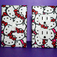 Set of 2 Hello Kitty Switch Plate Cover and by ELECTRIKKRAYON