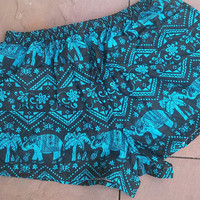 Blue Summer Beach Shorts Exotic Clothing Aztec Ethnic Boho Tribal Elephants Print Hippie Bohemian Ikat Cute Comfy Women Gift for Girl